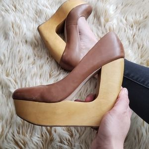 ALDO / Leather Wooden Platforms 7,5